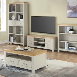 white and wood living room set- Connie Leonard furniture and flooring