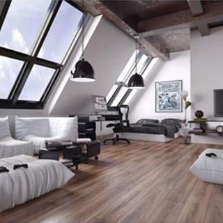 modern loft bedroom - Connie Leonard furniture and flooring